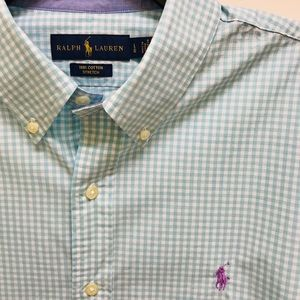 Polo Ralph Lauren Teal Gingham Check Shirt Size L
